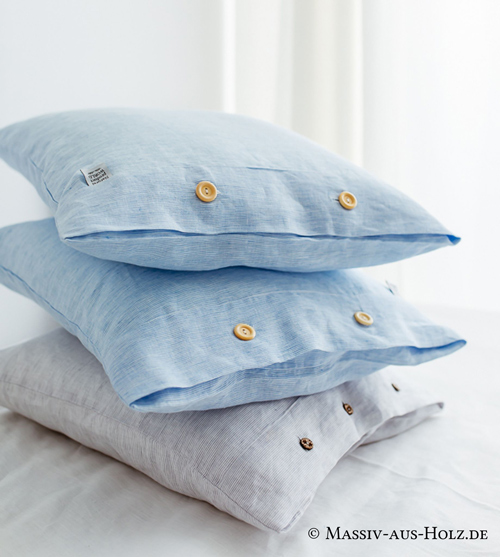 Leinen Kissen Bezug hellblau hellgrau weiß - gegen Nachtschweiß