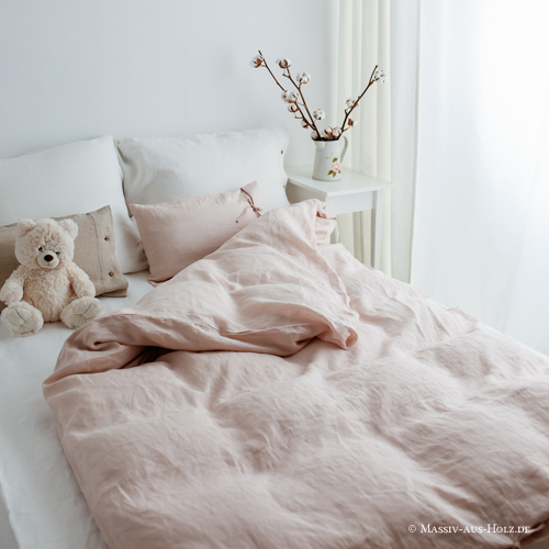 Leinen Bettwäsche Bettbezug Kissenbezug rosa puderrosa