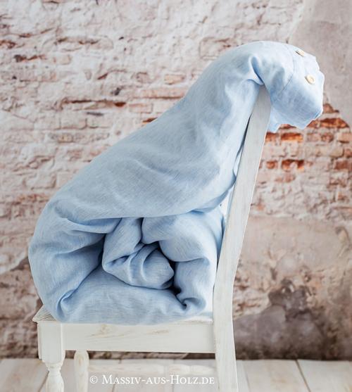 Leinen Bettbezug hellblau weiß