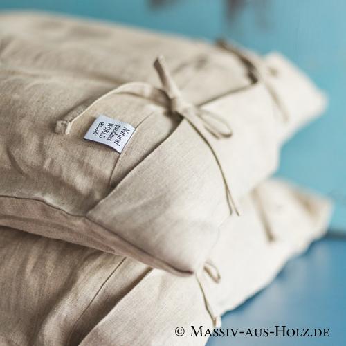 Kissenbezug mit Schleifen - Leinen braun naturfarben