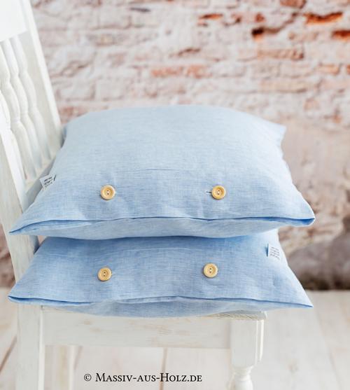 Leinen Kissenbezug hellblau weiss gestreift Holknöpfe